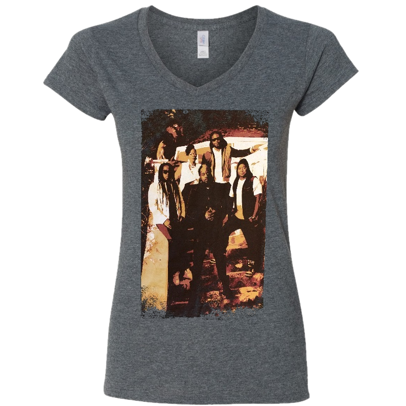 Morgan Heritage Ladies Dark Heather V Neck Tee